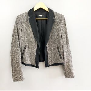 Ann Taylor Sherman Gray Tweed Open Blazer Jacket